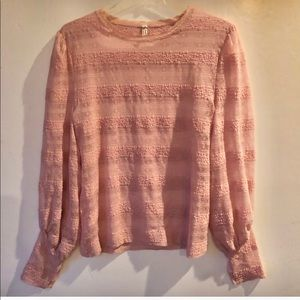 FREE PEOPLE Intimately Pale Pink Lace Sheer TOP L